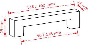 Λαβή συσρταριών σε χρώμιο ματ σε λιτή γραμμή 2184/96