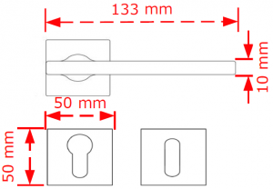 Χερούλι πόρτας  ροζέτα Nikel matt 4089