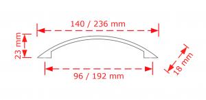 Λαβή επίπλου  192mm inox mat 2944