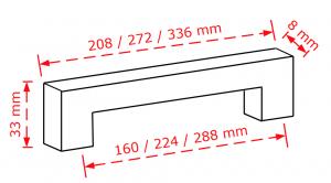 Λαβή επίπλου χρώμιο γυαλιστερό 2852 Το μήκος είναι 160 ή 224 ή 188mm