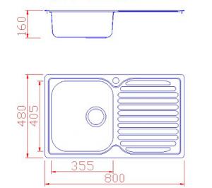 Νεροχύτης Geman ανοξείδωτος με 1 γούρνα & μαξιλάρι 80x48x22