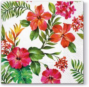 Xαρτοπετσέτες για decoupage  25x25 Χαβανέζικα Λουλούδια