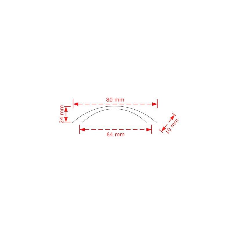 Λαβή επίπλων νίκελ ματ  6.4cm.  130/64