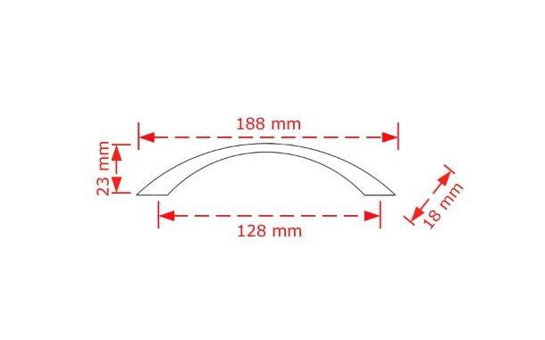 Πόμολο επίπλου 128mm  inox mat 2901