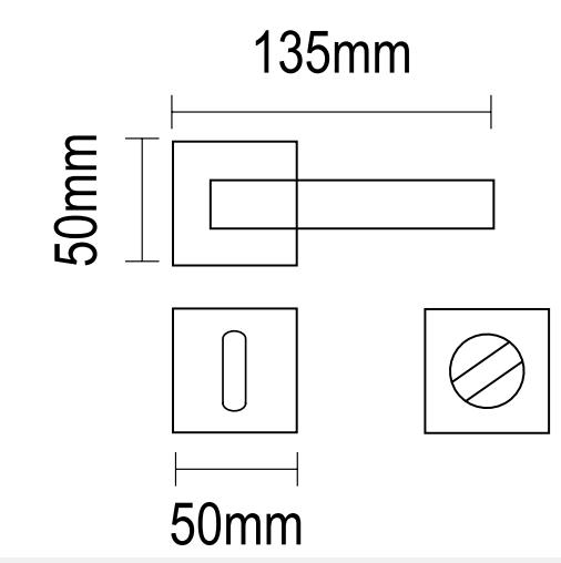 Χερούλι πόρτας Ροζέτα νικελ ματ/χρώμιο Ζευγάρι 06.763