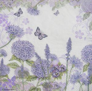 Χαρτοπετσέτες Decoupage 33 x 33 purple wildflowers