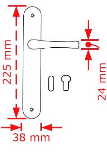 Χερούλι πόρτας πλάκα νίκελ ματ Α42