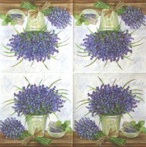Χαρτοπετσέτες Decoupage 33 x 33 λεβάντα σε γλάστρα
