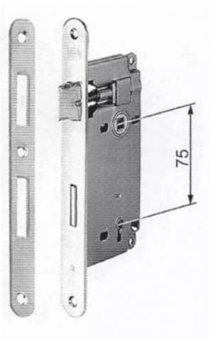 Κλειδαριά καμαρόπορτας μεσόπορτας  τετράγωνη νίκελ