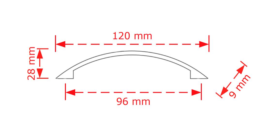 Λαβή  επίπλων μαύρο ματ 9,6cm   136/96