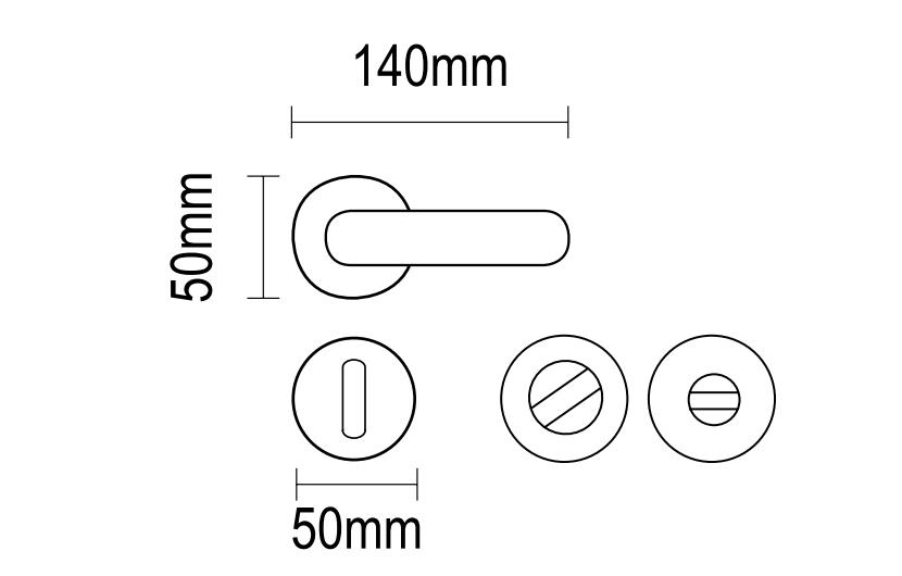 Χερούλι πόρτας ροζέτα oro-matt  06.700 viometal