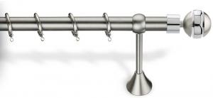 Κουρτινόβεργα νίκελ ματ πτυσσόμενη με κρίκους Φ25 140-250cm No 5  import hellas