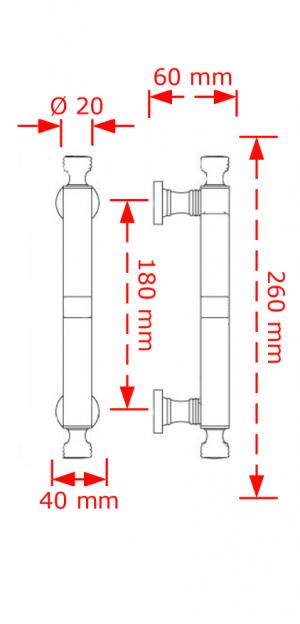Λαβή εξώπορτας σε  χρώμιο γυαλιστερό/λευκό 125