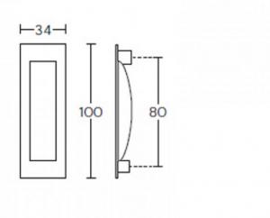 Λαβή χούφτα συρόμενης πόρτας μαύρο ματ C1555 CONVEX