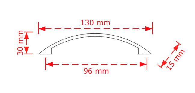 Λαβή συρταριών  νίκελ ματ 96mm.  152/96