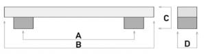 Λαβή επίπλων τετράγωνη μπάρα 1192 μαύρη ματ 16,0cm