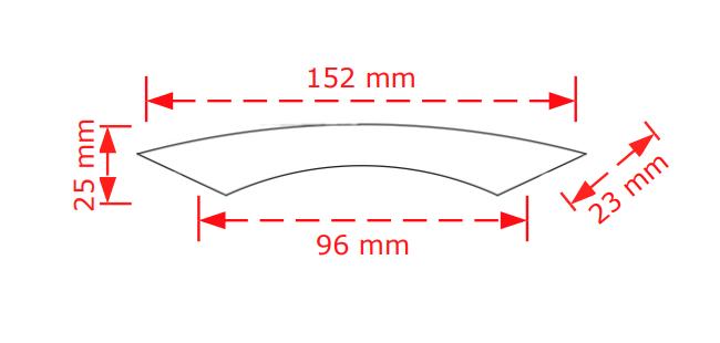 Λαβή συρταριών νίκελ ματ  9,6mm.   150/96