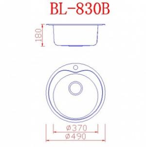 Νεροχύτης ανοξείδωτος στρόγγυλος 1 γούρνα 49×49