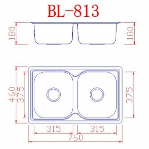 Νεροχύτης ανοξείδωτος με 2 γούρνες 760x460x175