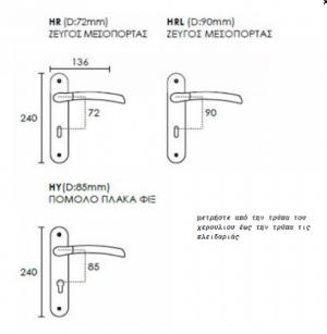 Χερούλι πόρτας πλάκα νίκελ ματ ζεύγος Νο Z-023