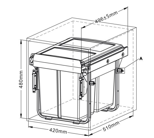 Δοχείο απορριμμάτων  2x20L συρόμενο με φρένο και υποδοχή μετόπης ECO