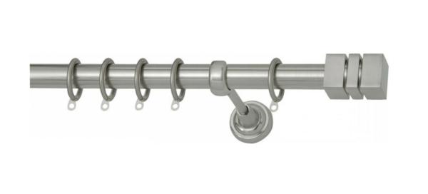 Κουρτινόβεργα νίκελ ματ Πτυσσόμενη Φ25 Με Κρίκους 140-250cm Νo2 Import