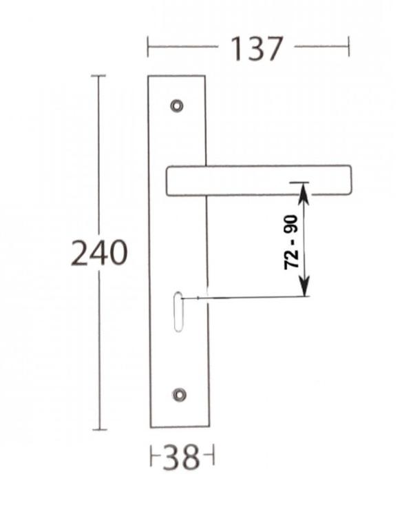 Χερούλι πόρτας  ροζέτα μαύρο ματ 1605