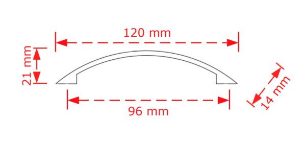 Λαβή  επίπλων σε νίκελ ματ  9,6cm   147/96