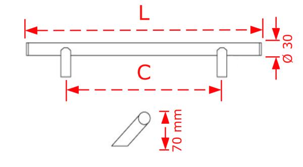 Λαβή εξώπορτας Φ30 50cm inox matt λοξή βάση  Νο 226