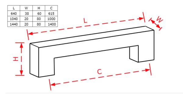 Λαβή εξώπορτας τετράγωνη μαύρη ματ Νο 228