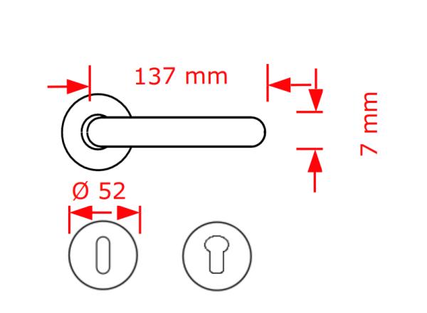 Χερούλι πόρτας  ροζέτα μαύρο ματ 84204