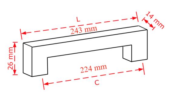 Λαβή επίπλων νίκελ ματ 22,4cm. No 803